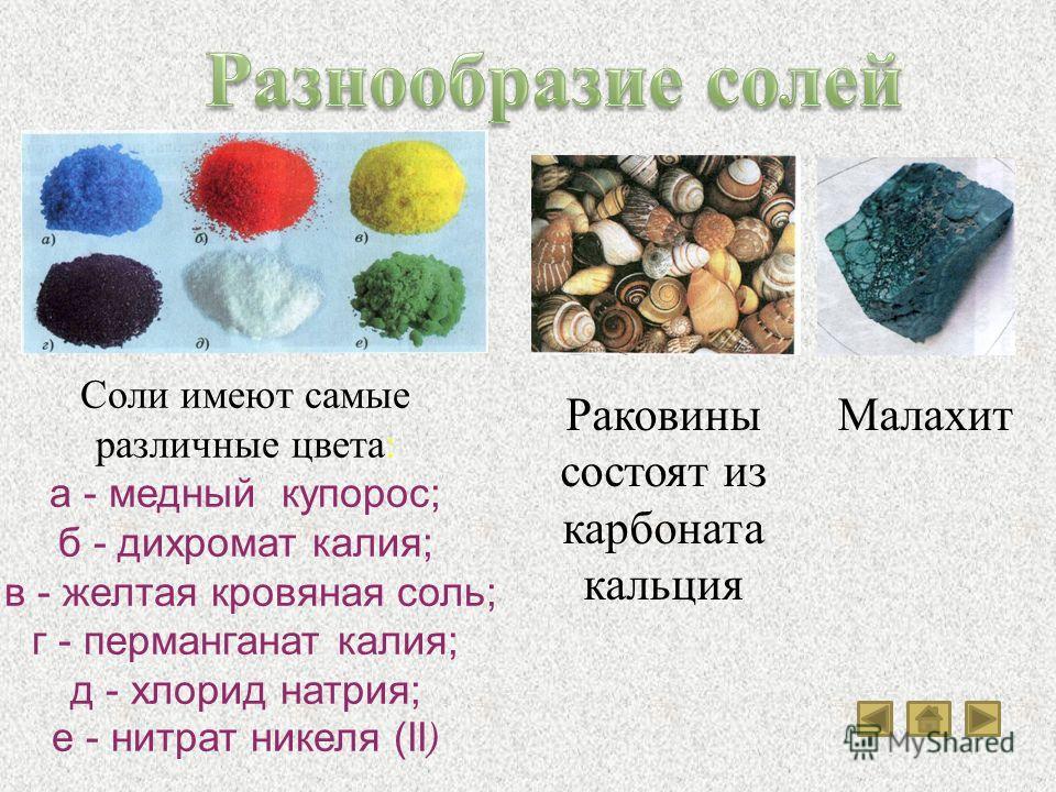 Соли имеют самые различные цвета: а - медный купорос; б - дихромат калия; в - желтая кровяная соль; г - перманганат калия; д - хлорид натрия; е - нитрат никеля (II ) Раковины состоят из карбоната кальция Малахит