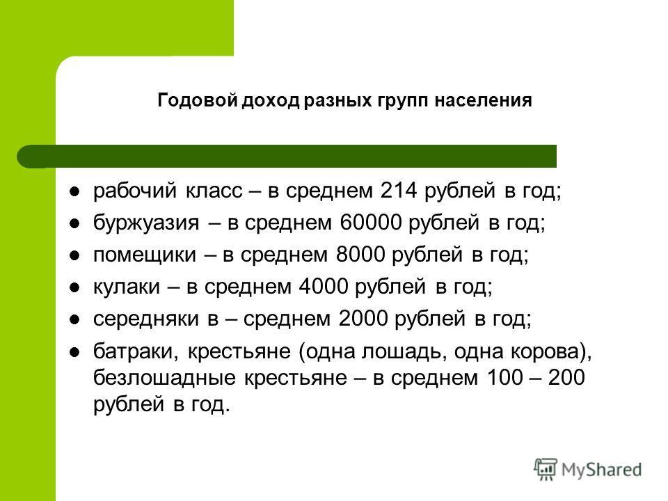 Годовой доход разных групп населения рабочий класс – в среднем 214 рублей в год; буржуазия – в среднем 60000 рублей в год; помещики – в среднем 8000 рублей в год; кулаки – в среднем 4000 рублей в год; середняки в – среднем 2000 рублей в год; батраки,