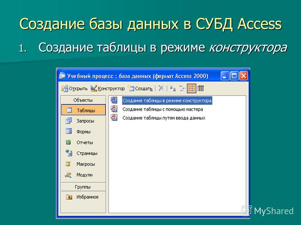 Создание базы данных в СУБД Access 1. Создание таблицы в режиме конструктора