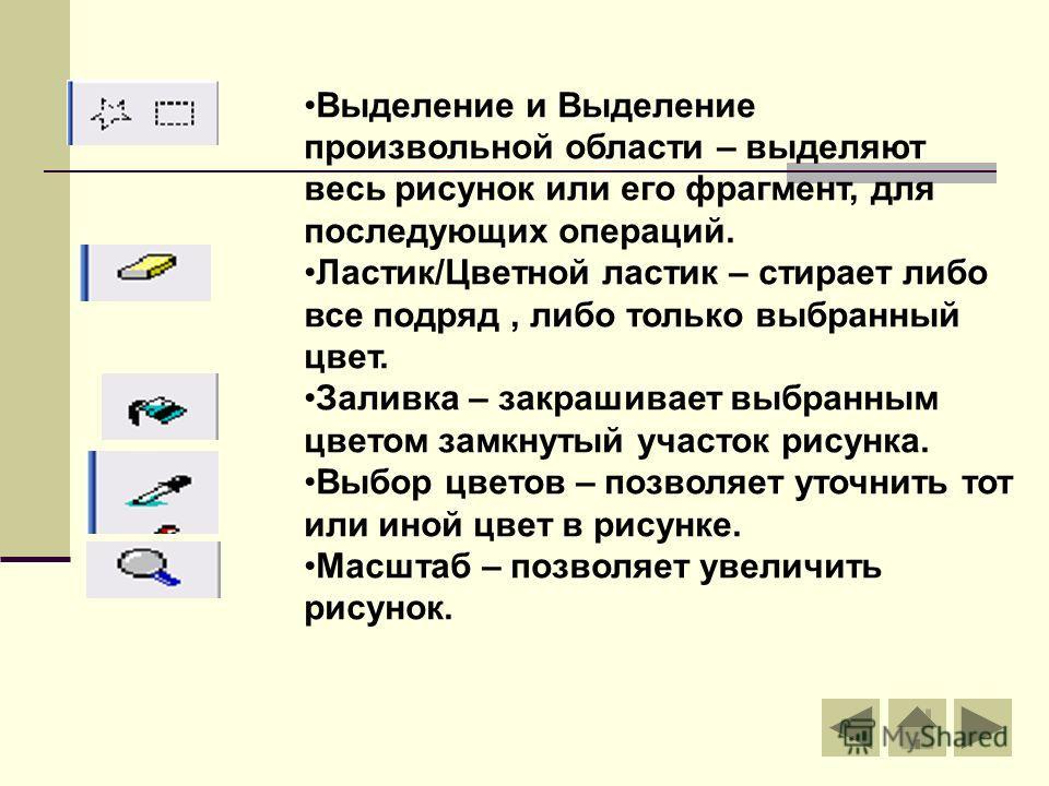 Выделение и Выделение произвольной области – выделяют весь рисунок или его фрагмент, для последующих операций. Ластик/Цветной ластик – стирает либо все подряд, либо только выбранный цвет. Заливка – закрашивает выбранным цветом замкнутый участок рисун