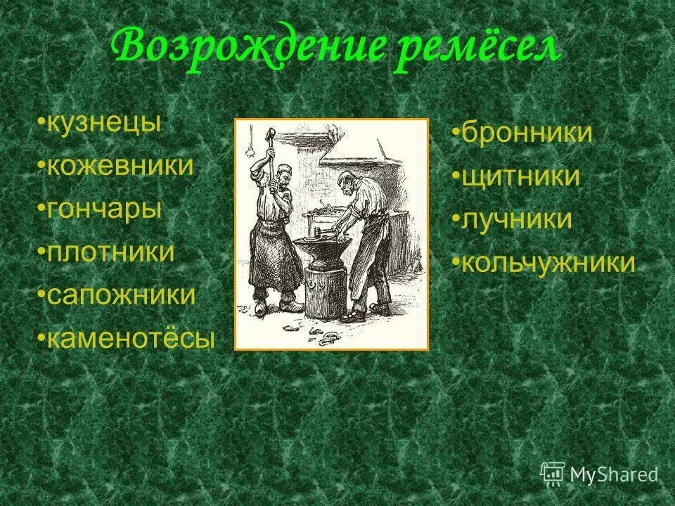 Возрождение ремёсел кузнецы кожевники гончары плотники сапожники каменотёсы бронники щитники лучники кольчужники