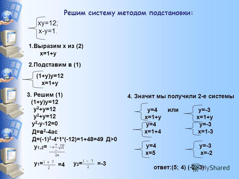 Решим систему методом подстановки: ху=12; х-у=1. 1.Выразим х из (2) х=1+у 2.Подставим в (1) (1+у)у=12 х=1+у 3. Решим (1) (1+у)у=12 у 2 +у=12 у 2 -у-12=0 Д=в 2 -4ас Д=(-1) 2 -4*1*(-12)=1+48=49 Д>0 у1,2=у1,2= у1=у1= =4 у2=у2= =-3 у=4 или у=-3 х=1+у у=4