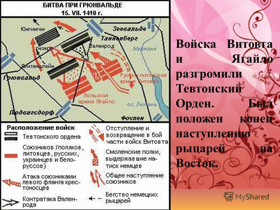 Войска Витовта и Ягайло разгромили Тевтонский Орден. Был положен конец наступлению рыцарей на Восток.