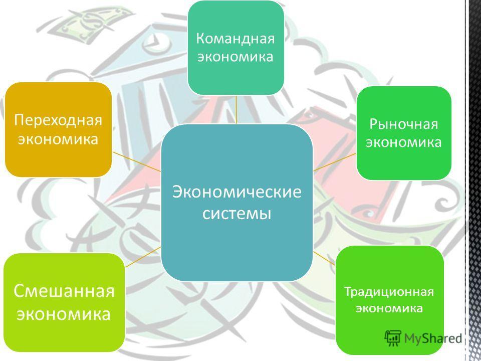 Экономические системы Командная экономика Рыночная экономика Традиционная экономика Смешанная экономика Переходная экономика