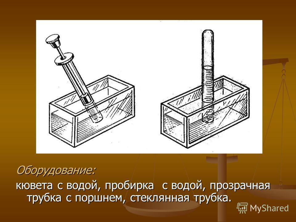 Оборудование: кювета с водой, пробирка с водой, прозрачная трубка с поршнем, стеклянная трубка.