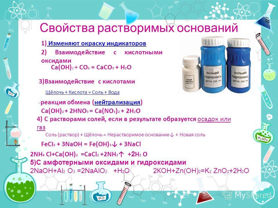 Свойства растворимых оснований Щёлочь + Кислота = Соль + Вода 1) Изменяют окраску индикаторов Изменяют окраску индикаторов 2) Взаимодействие с кислотными оксидами Ca(OH) 2 + CO 2 = CaCO 3 + H 2 O 3)Взаимодействие с кислотами - реакция обмена (нейтрал