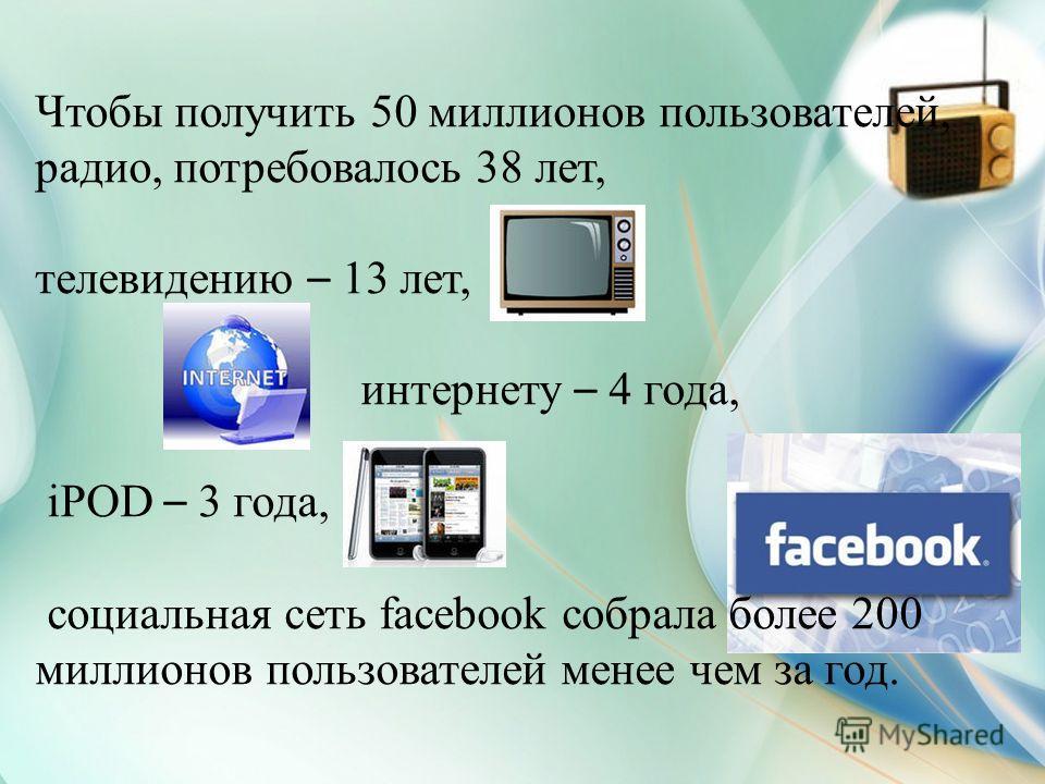 Чтобы получить 50 миллионов пользователей, радио, потребовалось 38 лет, телевидению – 13 лет, интернету – 4 года, iPOD – 3 года, социальная сеть facebook собрала более 200 миллионов пользователей менее чем за год.
