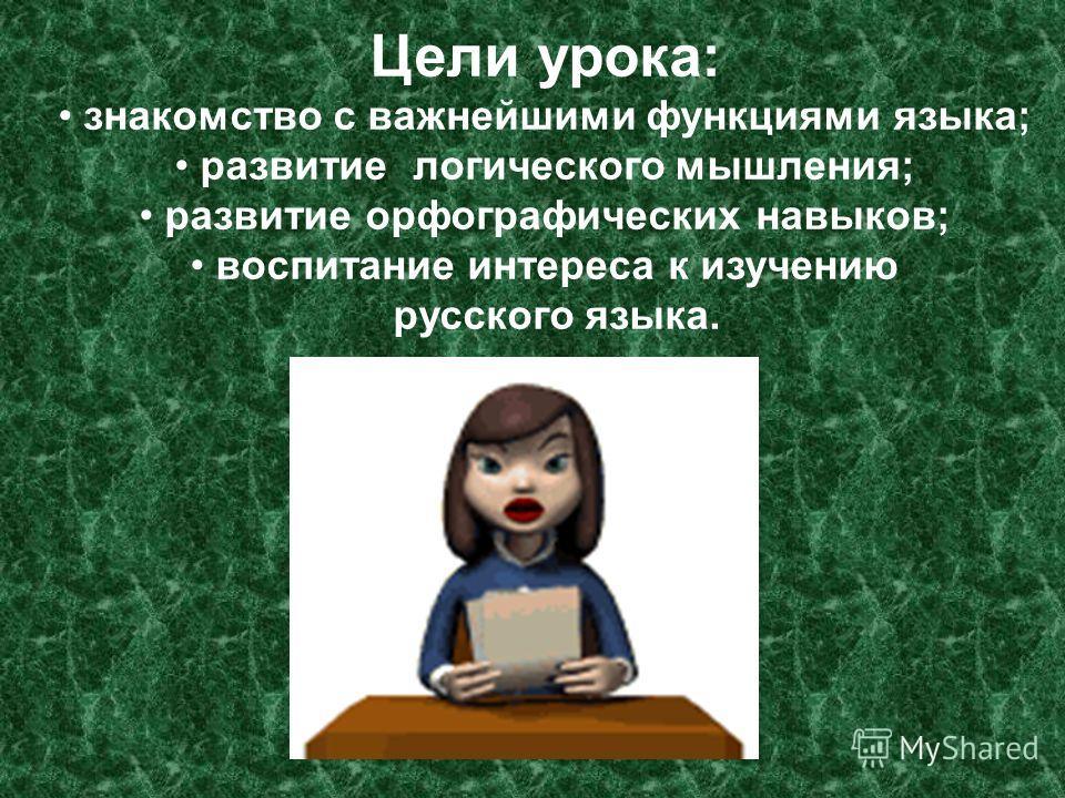 Цели урока: знакомство с важнейшими функциями языка; развитие логического мышления; развитие орфографических навыков; воспитание интереса к изучению русского языка.