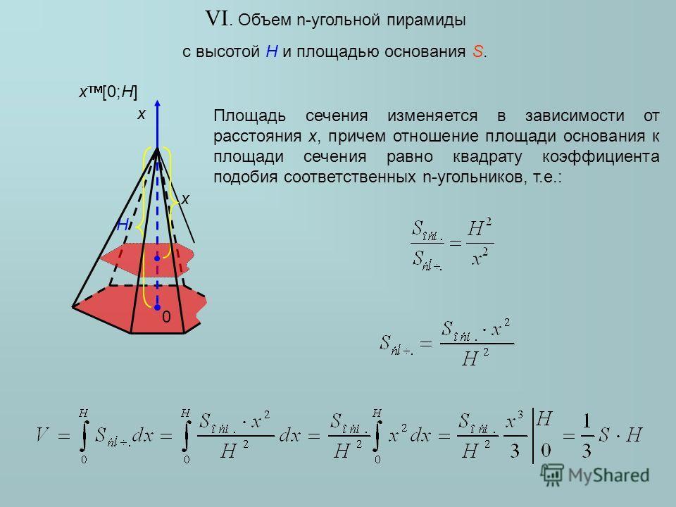 VI. Объем n-угольной пирамиды с высотой H и площадью основания S. H x Площадь сечения изменяется в зависимости от расстояния x, причем отношение площади основания к площади сечения равно квадрату коэффициента подобия соответственных n-угольников, т.е