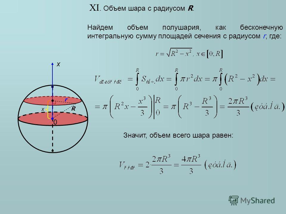 XI. Объем шара с радиусом R. Найдем объем полушария, как бесконечную интегральную сумму площадей сечения с радиусом r, где: R x Значит, объем всего шара равен: x 0 r