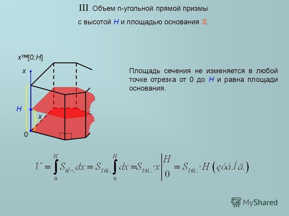 III. Объем n-угольной прямой призмы с высотой H и площадью основания S. x x [0;H] H 0 Площадь сечения не изменяется в любой точке отрезка от 0 до H и равна площади основания. x