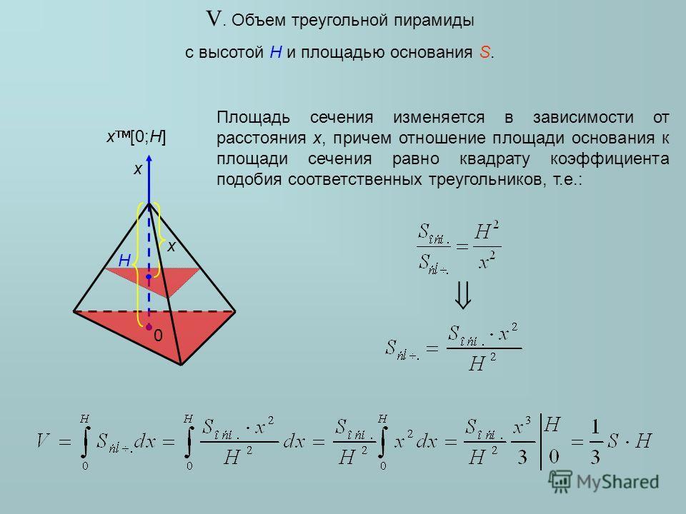 Высота пирамиды 16 площадь основания 512 площадь сечения