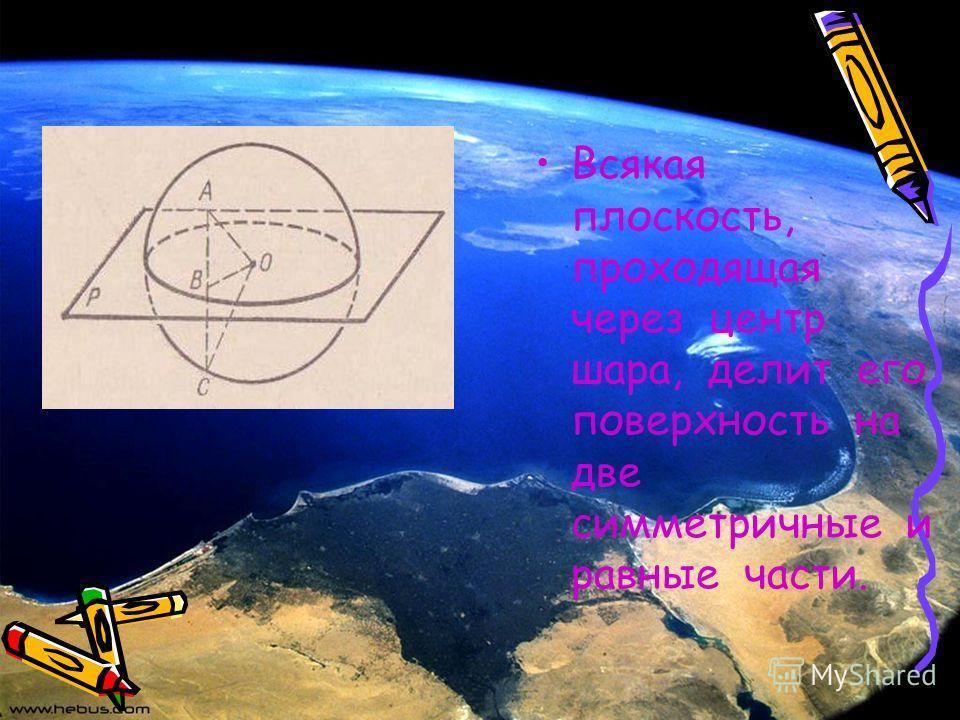 Всякая плоскость, проходящая через центр шара, делит его поверхность на две симметричные и равные части.