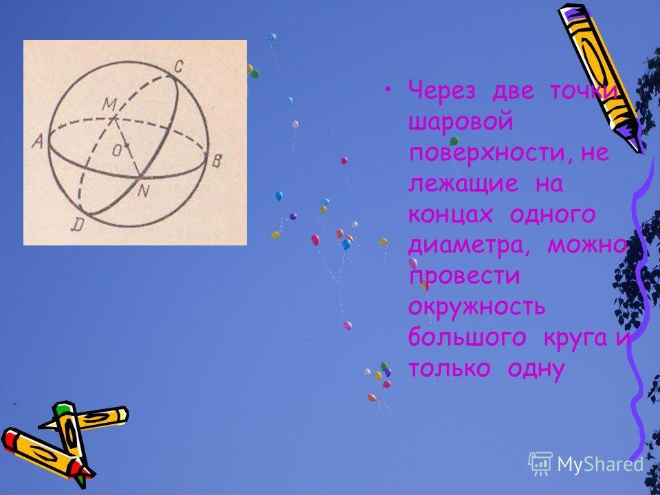 Через две точки шаровой поверхности, не лежащие на концах одного диаметра, можно провести окружность большого круга и только одну