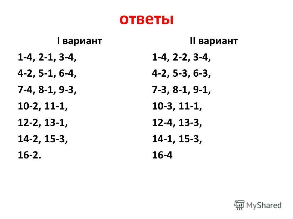 ответы I вариант 1-4, 2-1, 3-4, 4-2, 5-1, 6-4, 7-4, 8-1, 9-3, 10-2, 11-1, 12-2, 13-1, 14-2, 15-3, 16-2. II вариант 1-4, 2-2, 3-4, 4-2, 5-3, 6-3, 7-3, 8-1, 9-1, 10-3, 11-1, 12-4, 13-3, 14-1, 15-3, 16-4