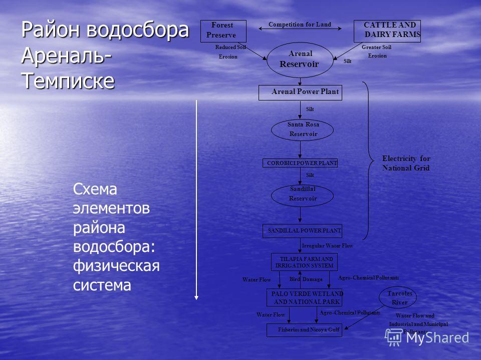 Схема элементов района водосбора: физическая система