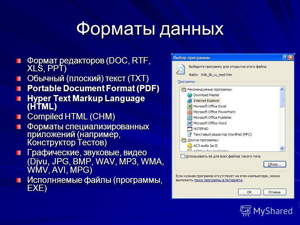 Форматы данных Формат редакторов (DOC, RTF, XLS, PPT) Обычный (плоский) текст (TXT) Portable Document Format (PDF) Hyper Text Markup Language (HTML) Compiled HTML (CHM) Форматы специализированных приложений (например, Конструктор Тестов) Графические,