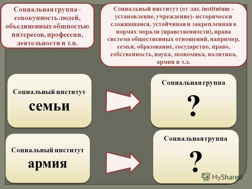 Социальная группа - совокупность людей, объединенных общностью интересов, профессии, деятельности и т.п. Социальный институт (от лат. institutum - установление, учреждение)- исторически сложившаяся, устойчивая и закрепленная в нормах морали (нравстве
