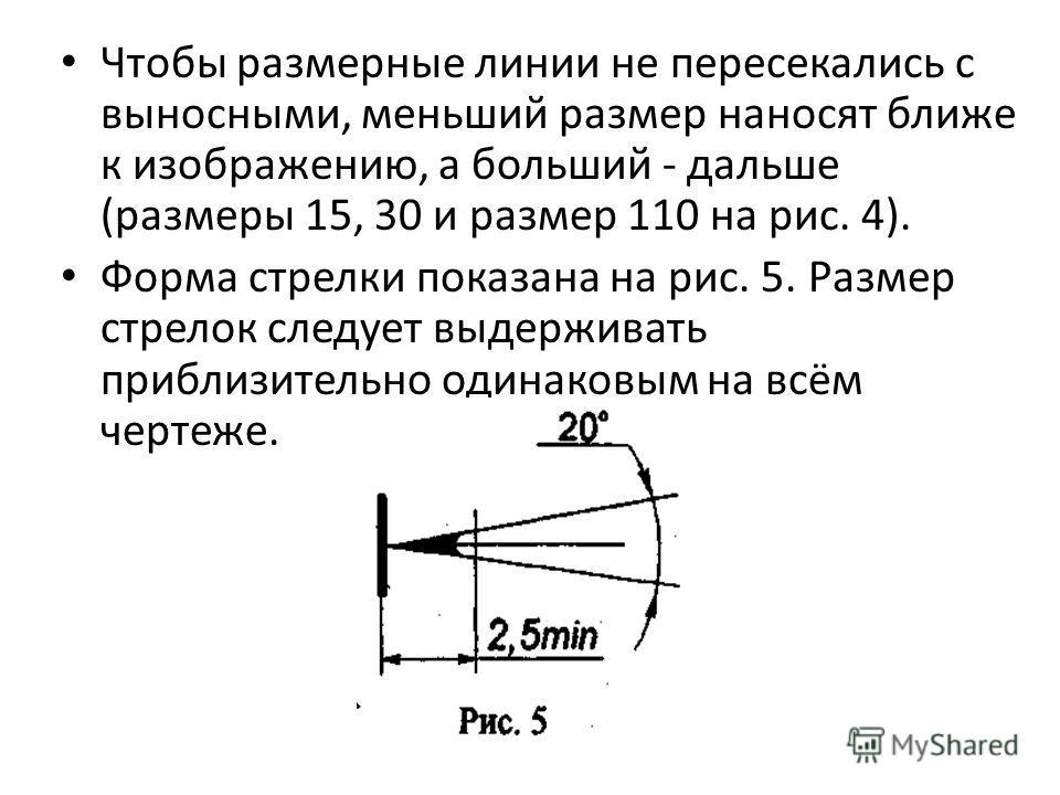Чтобы размерные линии не пересекались с выносными, меньший размер наносят ближе к изображению, а больший - дальше (размеры 15, 30 и размер 110 на рис. 4). Форма стрелки показана на рис. 5. Размер стрелок следует выдерживать приблизительно одинаковым