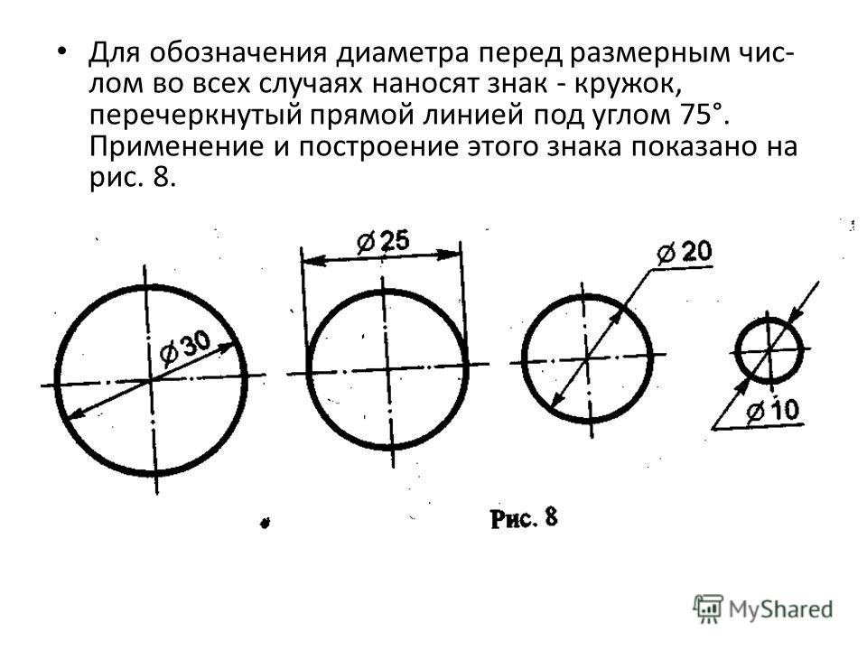Для обозначения диаметра перед размерным чис лом во всех случаях наносят знак - кружок, перечеркнутый прямой линией под углом 75°. Применение и построение этого знака показано на рис. 8.