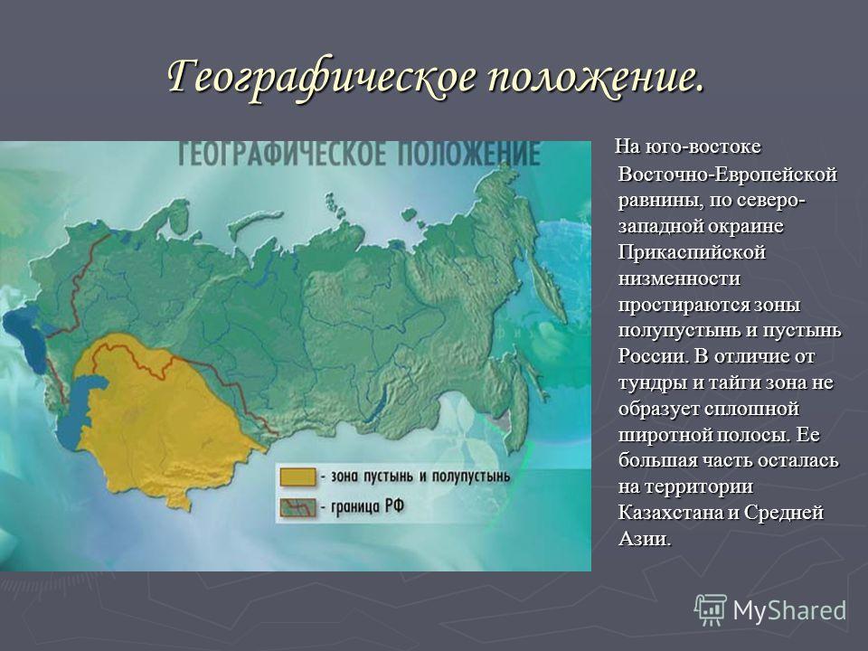 Географическое положение. На юго-востоке Восточно-Европейской равнины, по северо- западной окраине Прикаспийской низменности простираются зоны полупустынь и пустынь России. В отличие от тундры и тайги зона не образует сплошной широтной полосы. Ее бол