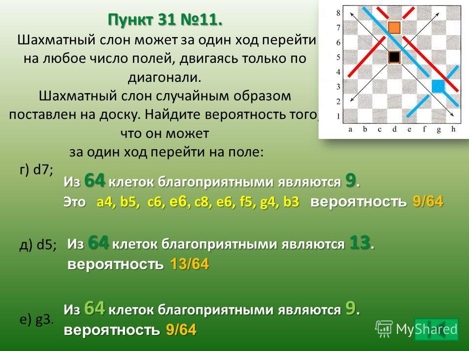 Пункт 31 11. Пункт 31 11. Шахматный слон может за один ход перейти на любое число полей, двигаясь только по диагонали. Шахматный слон случайным образом поставлен на доску. Найдите вероятность того, что он может за один ход перейти на поле: г) d7; д)