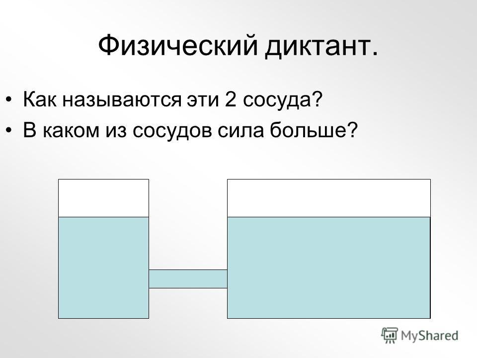 Физический диктант. Как называются эти 2 сосуда? В каком из сосудов сила больше?