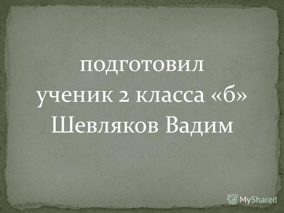 подготовил ученик 2 класса «б» Шевляков Вадим