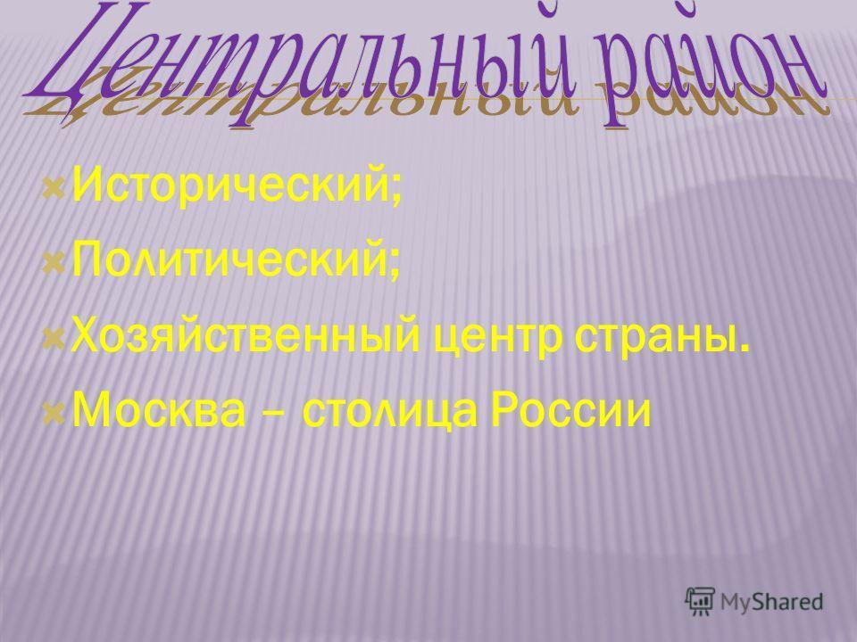 Исторический; Политический; Хозяйственный центр страны. Москва – столица России
