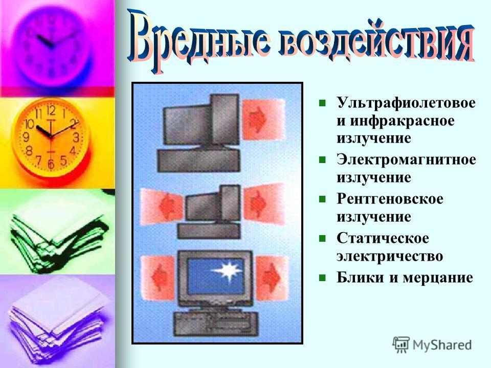 Ультрафиолетовое и инфракрасное излучение Электромагнитное излучение Рентгеновское излучение Статическое электричество Блики и мерцание
