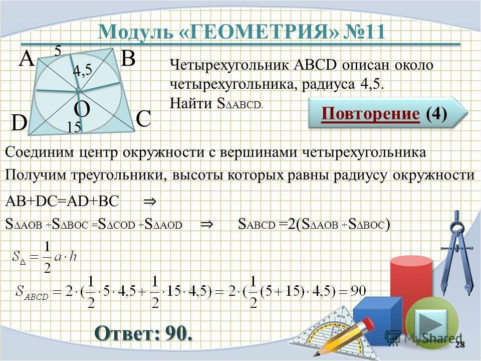 Модуль «ГЕОМЕТРИЯ» 11 Повторение (4) Повторение (4) Ответ: 90. Четырехугольник АВСD описан около четырехугольника, радиуса 4,5. Найти S ABCD. 28 ВА D С 5 15 4,5 О Соединим центр окружности с вершинами четырехугольника Получим треугольники, высоты кот