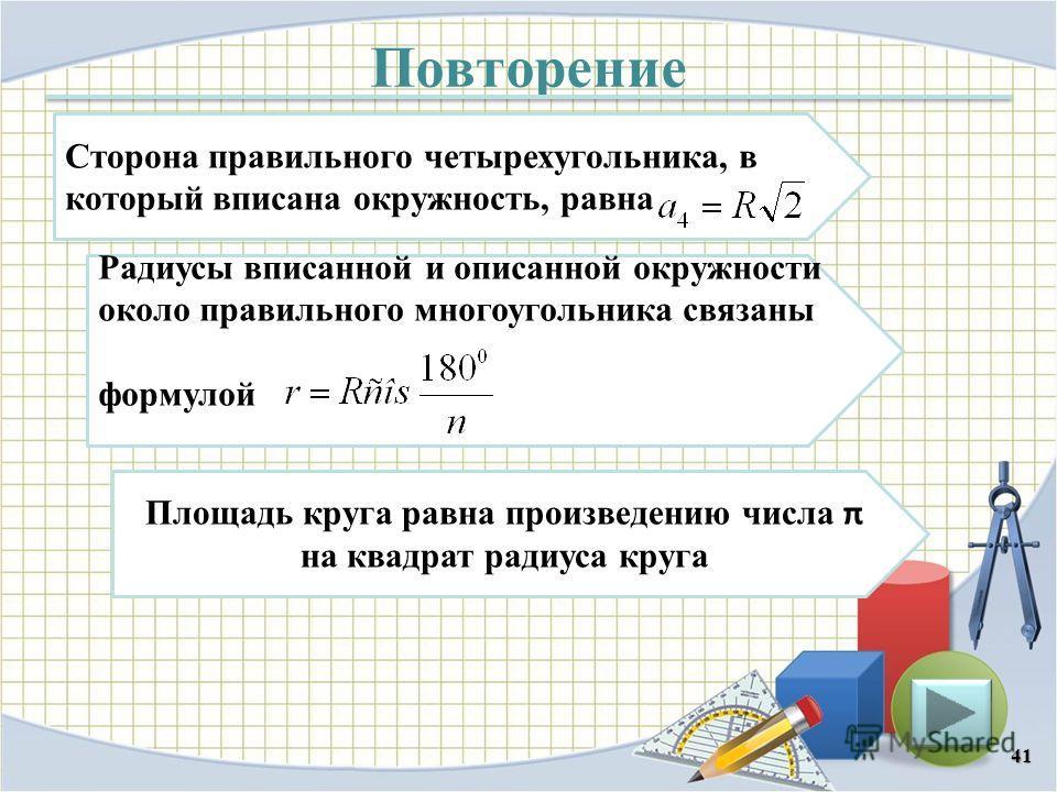Повторение 41 Сторона правильного четырехугольника, в который вписана окружность, равна Радиусы вписанной и описанной окружности около правильного многоугольника связаны формулой Площадь круга равна произведению числа π на квадрат радиуса круга