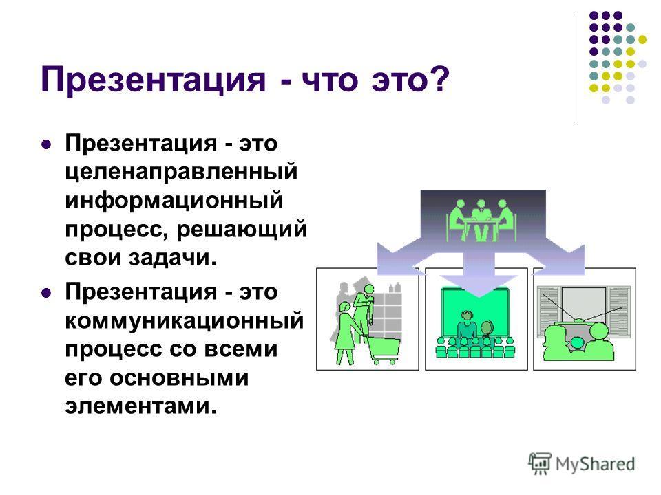 Презентация - что это? Презентация - это целенаправленный информационный процесс, решающий свои задачи. Презентация - это коммуникационный процесс со всеми его основными элементами.