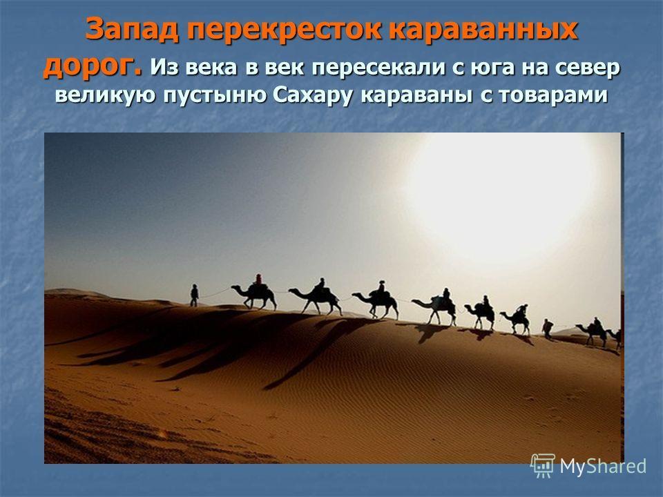 Запад перекресток караванных дорог. Из века в век пересекали с юга на север великую пустыню Сахару караваны с товарами
