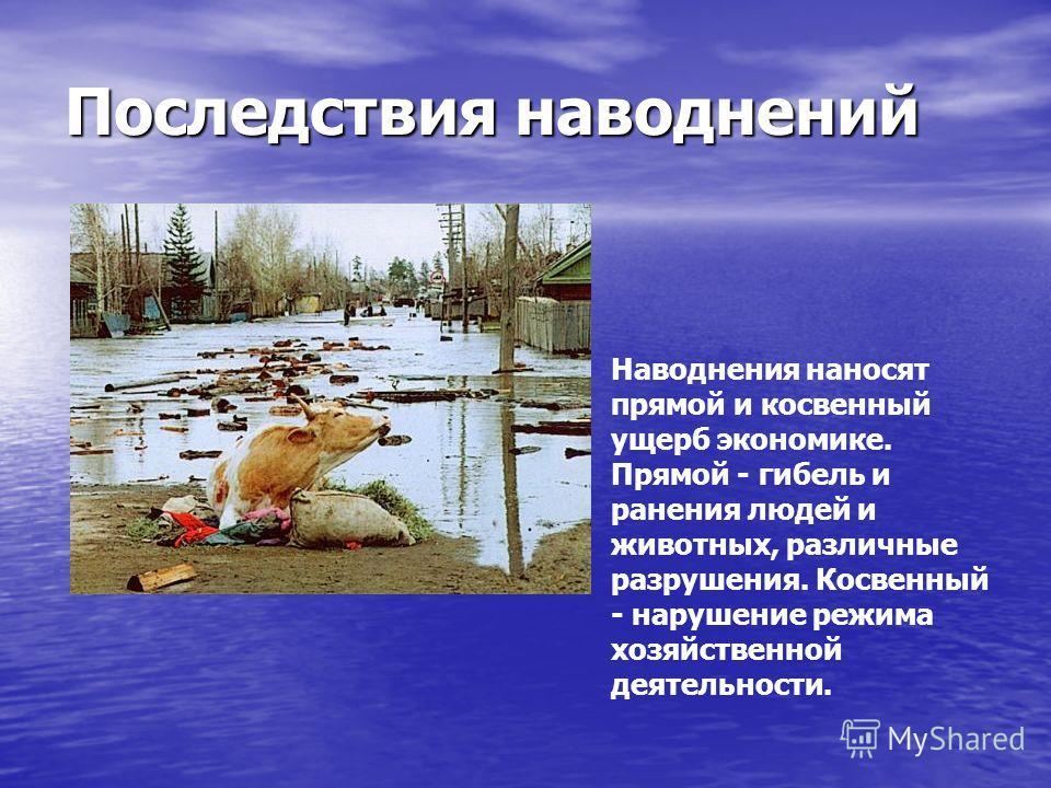 Последствия наводнений Наводнения наносят прямой и косвенный ущерб экономике. Прямой - гибель и ранения людей и животных, различные разрушения. Косвенный - нарушение режима хозяйственной деятельности.