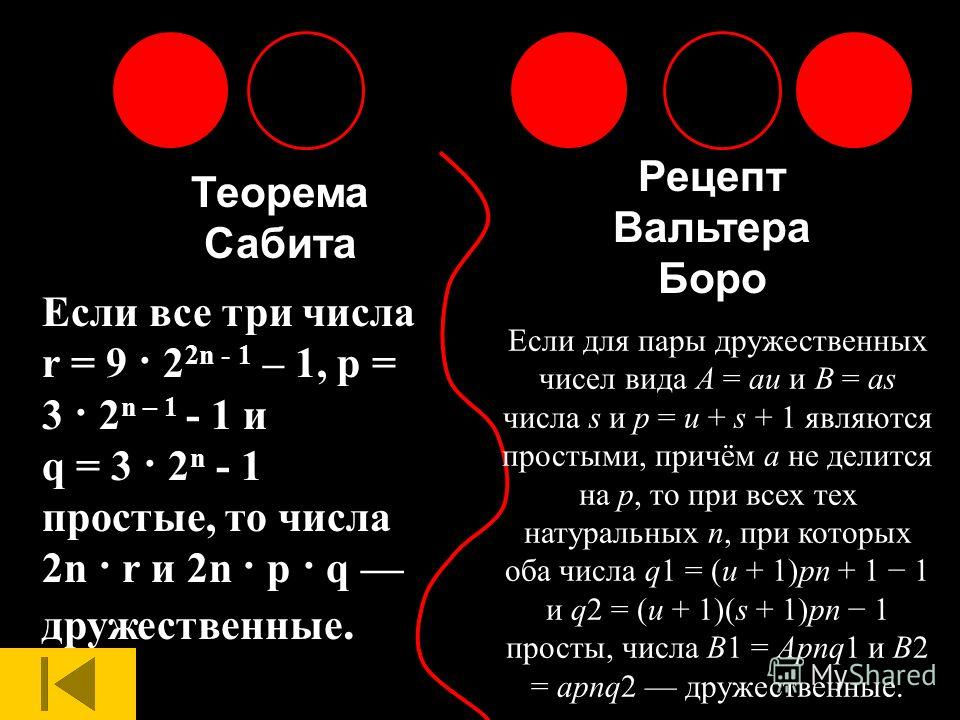Теорема Сабита Рецепт Вальтера Боро Если все три числа r = 9 · 2 2n - 1 – 1, p = 3 · 2 n – 1 - 1 и q = 3 · 2 n - 1 простые, то числа 2n · r и 2n · p · q дружественные. Если для пары дружественных чисел вида A = au и B = as числа s и p = u + s + 1 явл