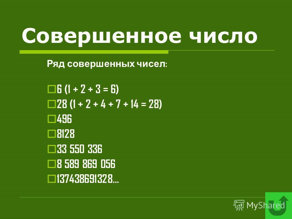 Совершенное число 6 (1 + 2 + 3 = 6) 28 (1 + 2 + 4 + 7 + 14 = 28) 496 8128 33 550 336 8 589 869 056 137438691328… Ряд совершенных чисел :
