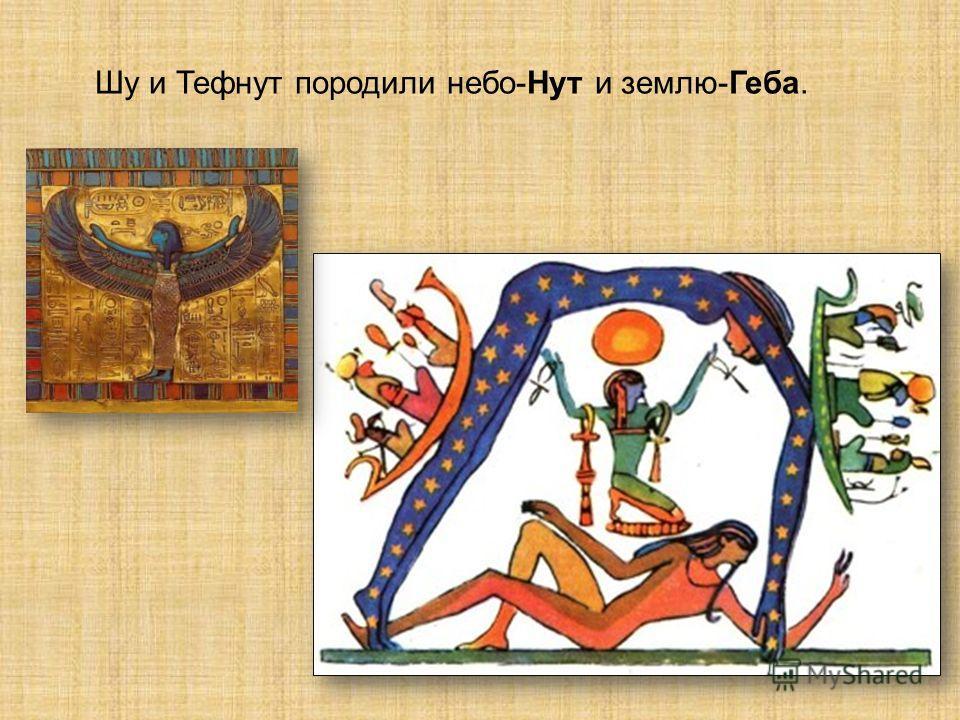 Шу и Тефнут породили небо-Нут и землю-Геба.