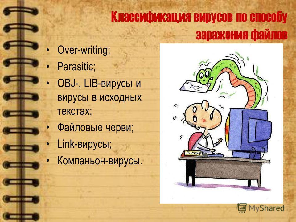 Классификация вирусов по способу заражения файлов Over-writing; Parasitic; OBJ-, LIB-вирусы и вирусы в исходных текстах; Файловые черви; Link-вирусы; Компаньон-вирусы.