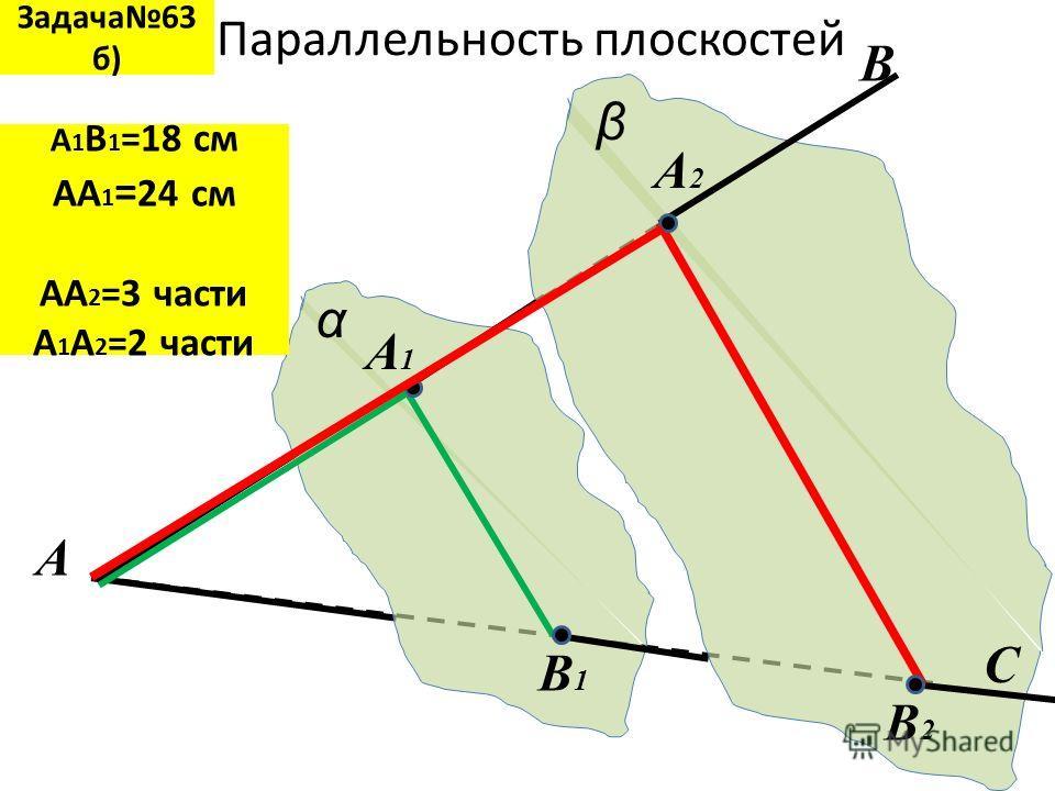Параллельность плоскостей α β B1B1 A A1A1 A2A2 B B2B2 C Задача63 б) А 1 В 1 =18 см АА 1 = 24 см АА 2 =3 части А 1 А 2 =2 части
