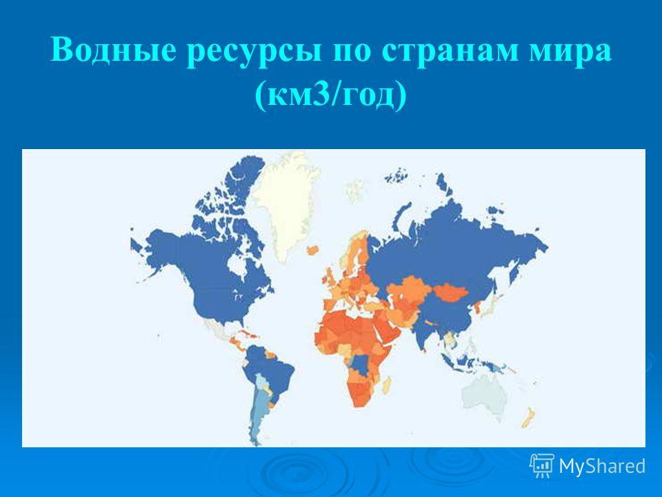 Водные ресурсы по странам мира (км3/год)
