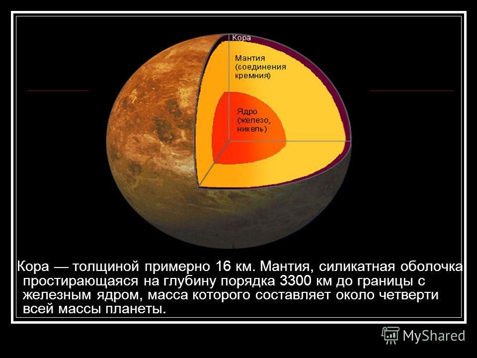 Кора толщиной примерно 16 км. Мантия, силикатная оболочка, простирающаяся на глубину порядка 3300 км до границы с железным ядром, масса которого составляет около четверти всей массы планеты.