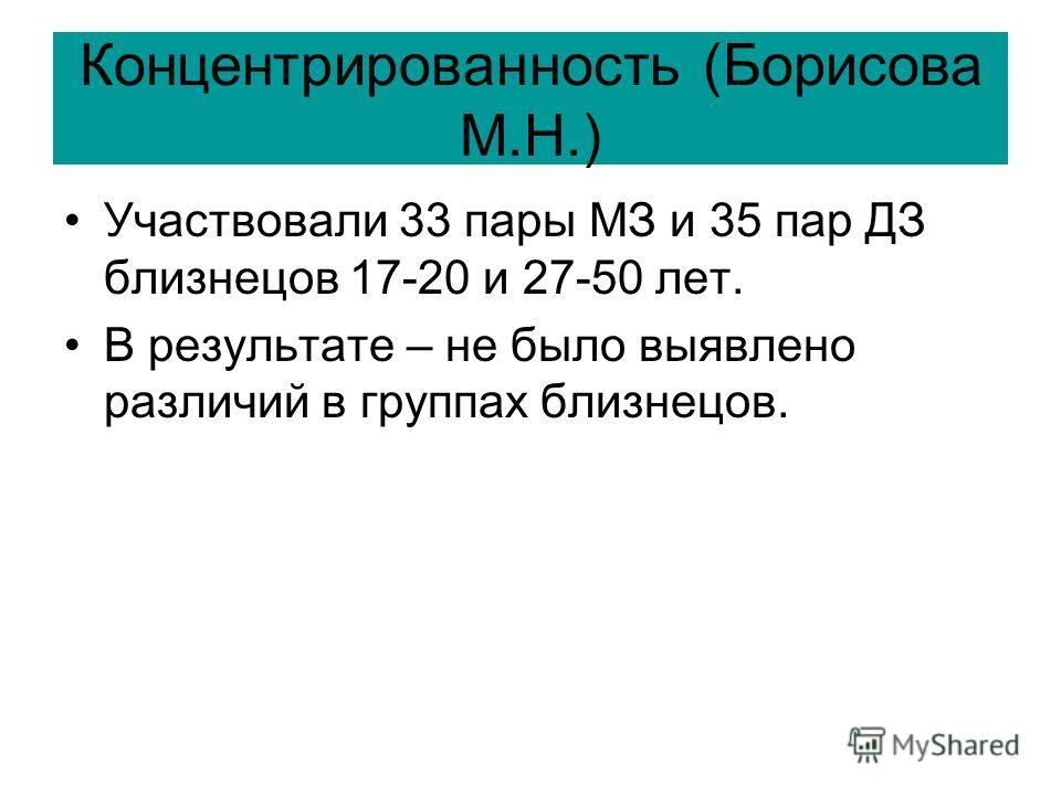 Концентрированность (Борисова М.Н.) Участвовали 33 пары МЗ и 35 пар ДЗ близнецов 17-20 и 27-50 лет. В результате – не было выявлено различий в группах близнецов.