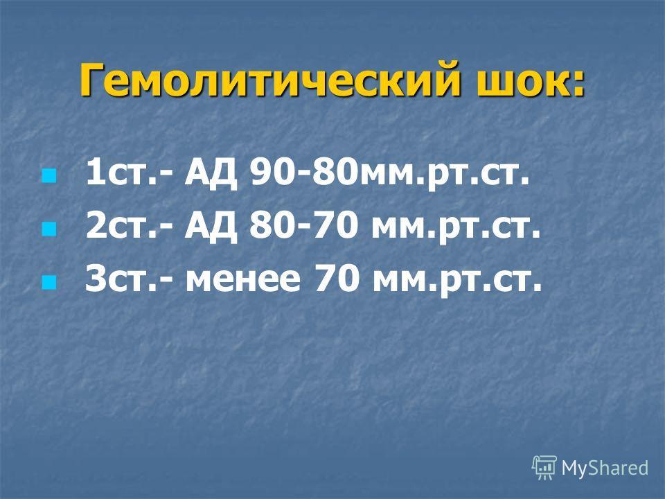 Гемолитический шок: 1ст.- АД 90-80мм.рт.ст. 2ст.- АД 80-70 мм.рт.ст. 3ст.- менее 70 мм.рт.ст.