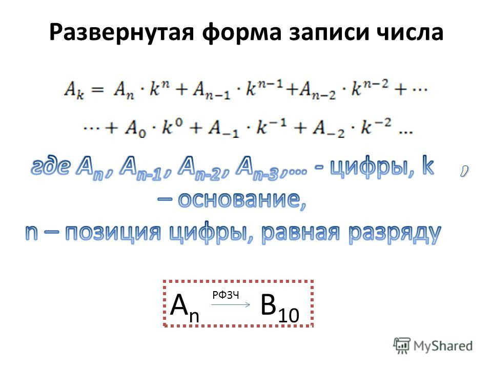 Развернутая форма записи числа А n B 10 РФЗЧ