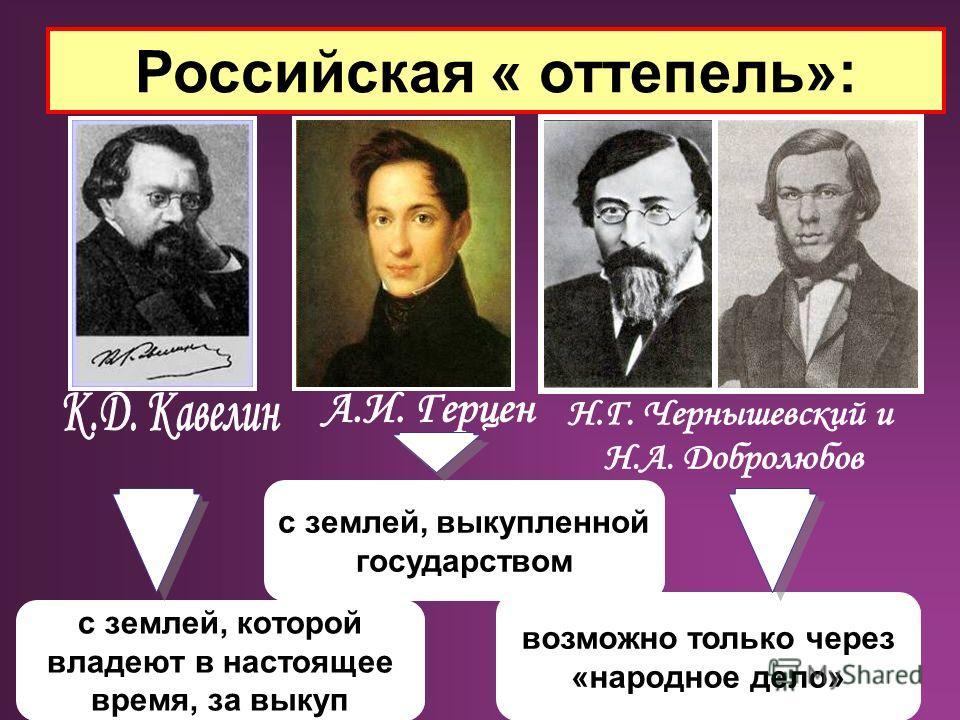 с землей, которой владеют в настоящее время, за выкуп с землей, выкупленной государством возможно только через «народное дело» Российская « оттепель»: