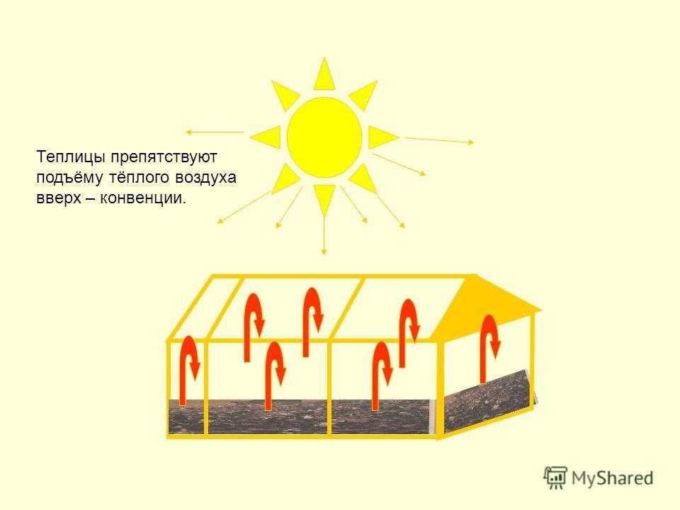 Теплицы препятствуют подъёму тёплого воздуха вверх – конвенции.