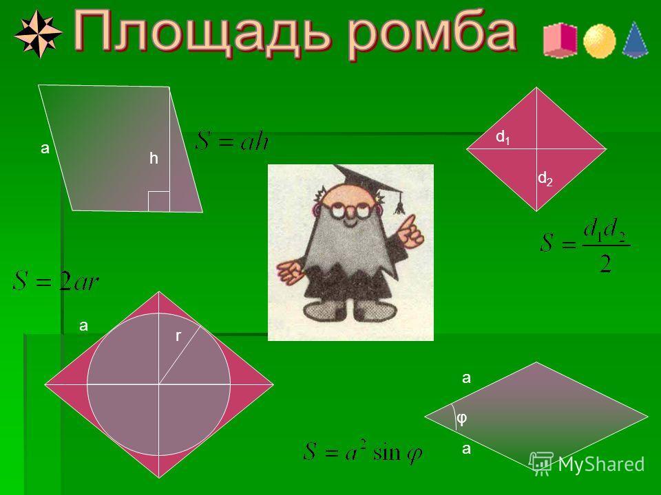φ d 2 d 1 a b Его знает каждый школьник, Брат квадрата – прямоугольник. Его используют везде: И в учебе, и в труде.
