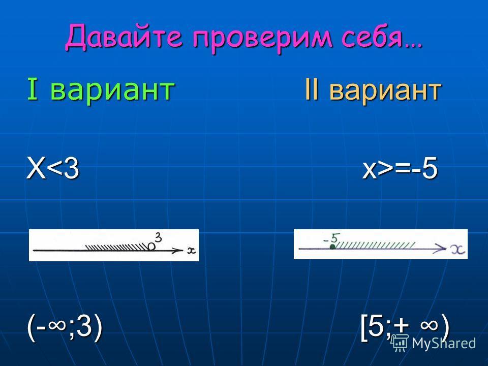 Давайте проверим себя… I вариант II вариант X =-5 (-;3) [5;+ )