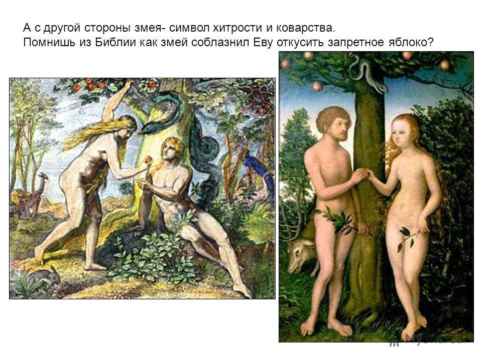 А с другой стороны змея- символ хитрости и коварства. Помнишь из Библии как змей соблазнил Еву откусить запретное яблоко?